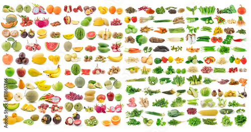 Foto auf Gartenposter Gemuse set of vegetable and fruit on white background