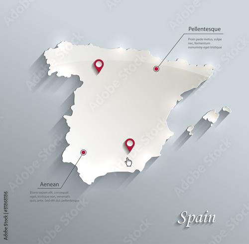 Spain map blue white card paper 3D vector Canvas Print