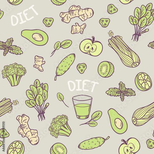 Fototapeta ilustracje warzyw i owoców