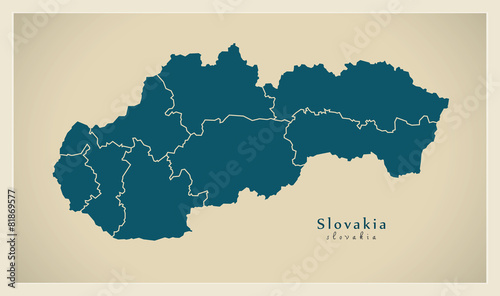 Modern Map - Slovakia with counties SK Canvas Print