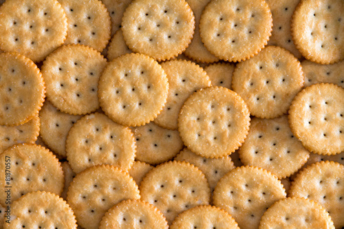 Vászonkép Salted Baked Round Crackers for Backgrounds