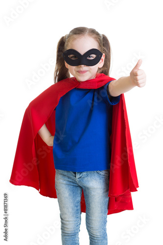 Photo  Child shows thumb up pretending to be a superhero