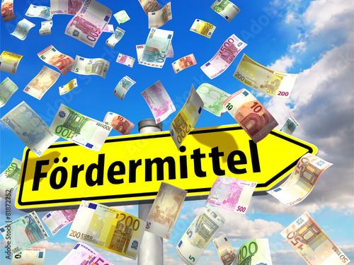 Fotografía  Wegweiser Fördermittel y Geldscheine