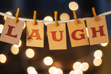Laugh Concept Clipped Cards And Lights