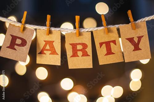 Fotografie, Obraz  Party Concept připnutý karty a Lights