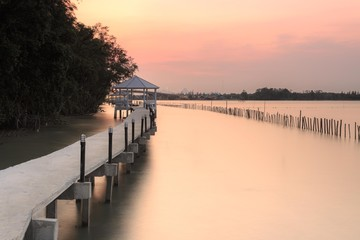 Sunset at nature trails bridge In Thailand