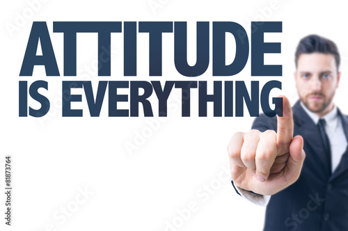 Business man pointing the text: Attitude is Everything Tablou Canvas
