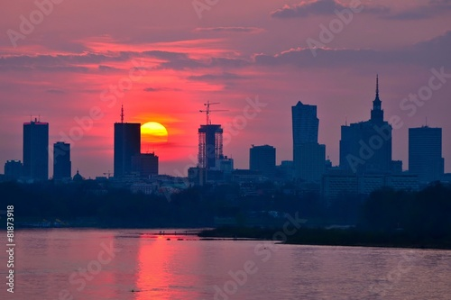 Warsaw Downtown sunset #81873918