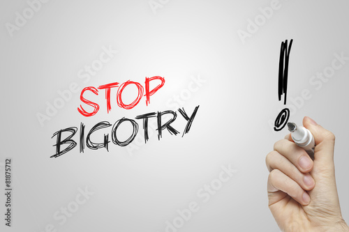 Hand writing stop bigotry Wallpaper Mural