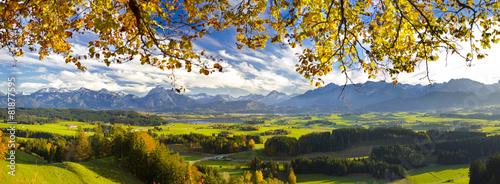 Foto op Plexiglas Panoramafoto s Panorama Landschaft in Bayern im Allgäu bei Füssen