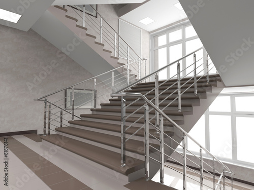 Modern staircase with stained-glass window Fototapete