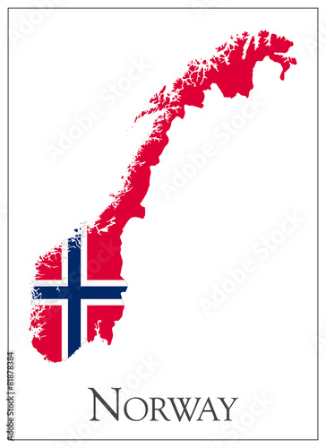 Norway flag map Fototapet