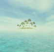 Retro Background With Ocean And Tropical Island