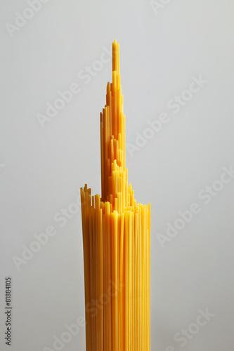 Photo  Bunch of spaghetti pasta. Grey background