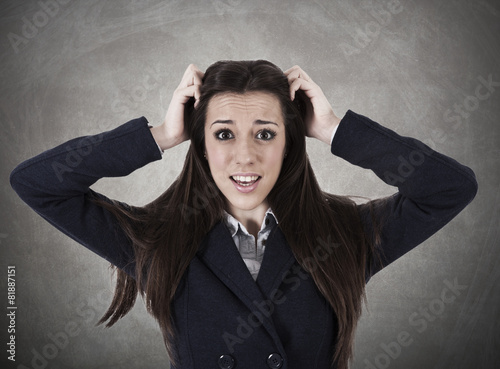 Fotografía  business woman with expression of panic