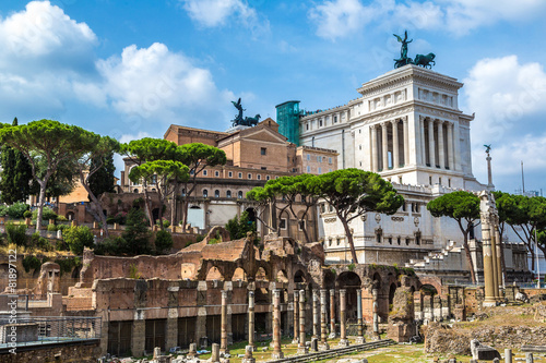Photo  Ancient ruins of Forum in Rome
