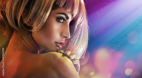 Tuinposter Kapsalon Closeup portrait of an alluring woman with perfect complexion