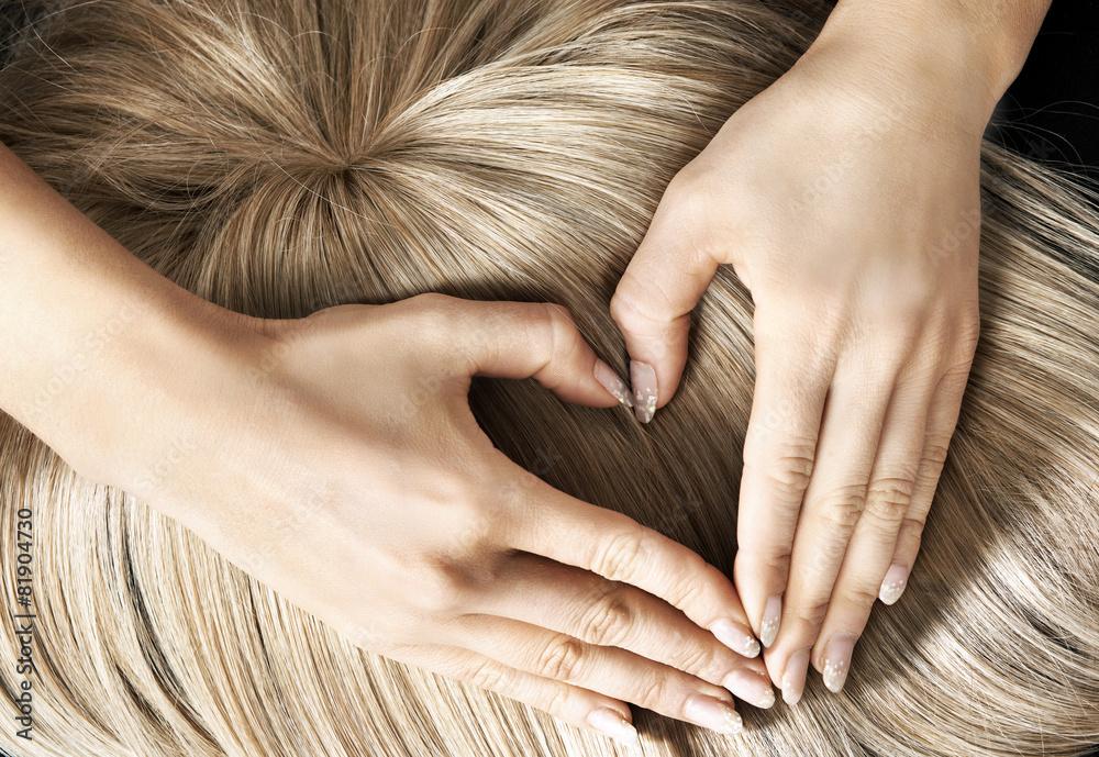 Fototapeta Heart sign on the blond wig