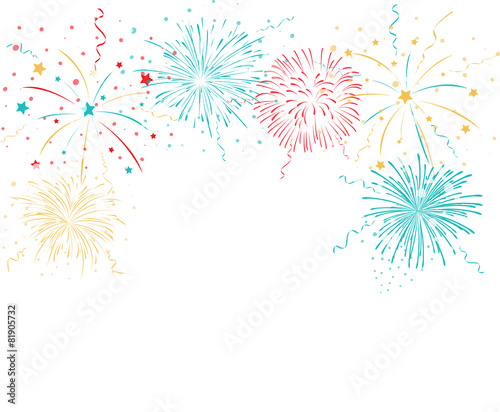 Canvas Print Colorful fireworks background