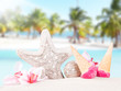 Ice cream, summer accessories with tropical beach background