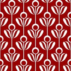 FototapetaOrnament Blume Reihe rot weiß rund geometrisch