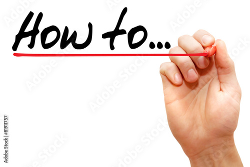 Hand writing how to with marker, business concept Tableau sur Toile