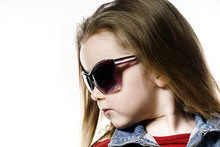 Cute Little Girl Posing In Mother's Sunglasses, Childhood Concep