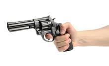 Revolver Gun In Hand On White ...