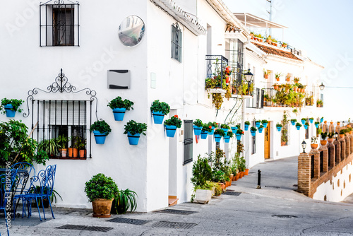Picturesque street of Mijas. Andalusian white village
