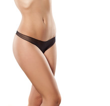 Front View Of A Pretty Woman's Hips In Black Panties