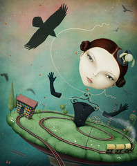 Conceptual illustration unreal fantasy with the girl and train