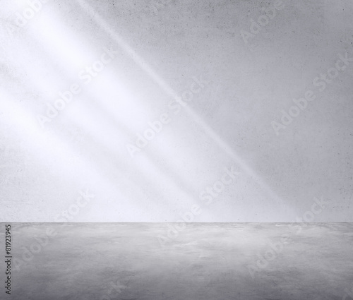Foto op Aluminium Wand Concrete Room Corner Shadow Sunlight Wallpaper Concept