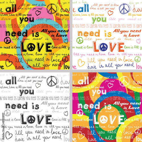 Plagát  All You Need Is Love(Set of 4 Seamless Backgrounds )