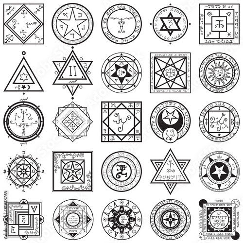 Set of Magic and Alchemy Sigils Vectors Canvas Print
