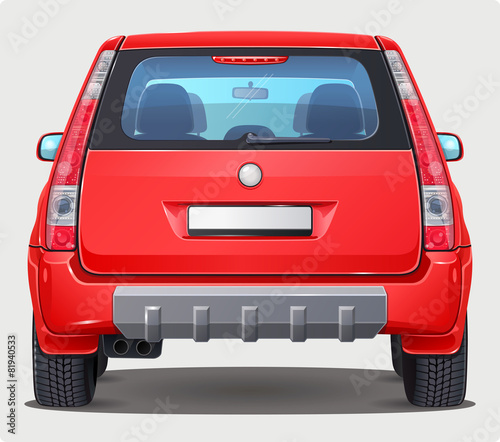 Photo  Vector red Car - Back view - visible interior