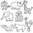 Cute outlined zoo animals collection. Vector illustration.