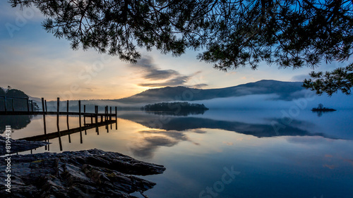 Fotografia Morning mist on Derwent Water, Keswick, The Lake District