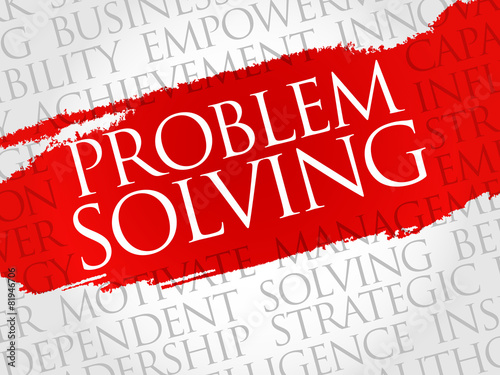 Fotografía  Problem solving word cloud, business concept