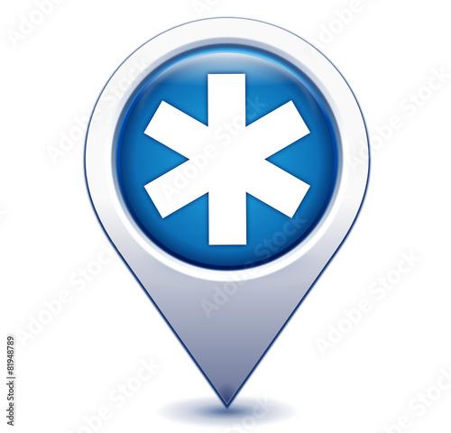 ambulance sur marqueur géolocalisation bleu