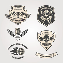 Grand Prix Racing  Motorclub  Emblems Set Isolated Vector