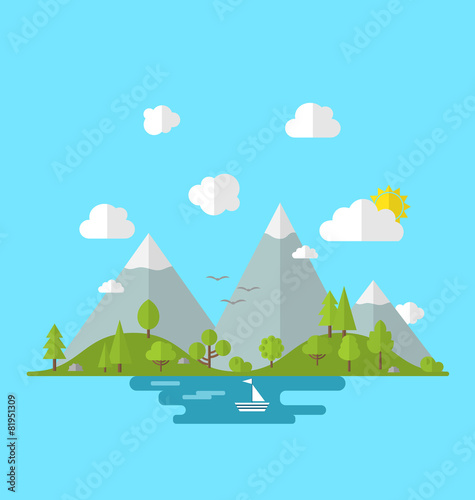 Papiers peints Piscine Landscape woods valley hill forest land scene view background