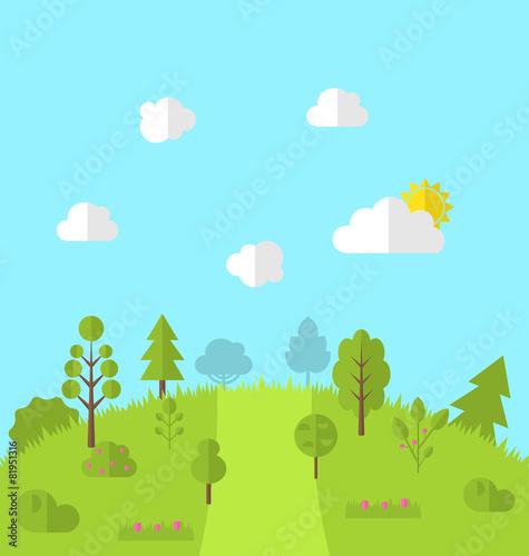Papiers peints Vert chaux Landscape woods valley hill forest land scene view background