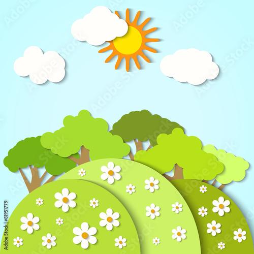Poster Lime groen Vector paper landscape