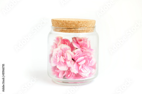 Pink flower inside glass bottle with work path