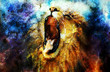 canvas print picture - painting of a roaring lion on a abstract desert pattern, collage