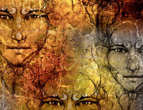 struktura-tla-i-ozdobna-tajemnicza-twarz-kolaz