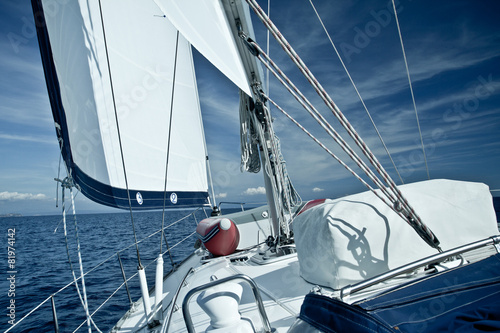 Garden Poster Sailing Sailing yacht on a cruise deck view
