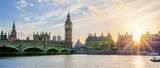 Fototapeta Big Ben - Panoramic view of Big Ben clock tower in London at sunset