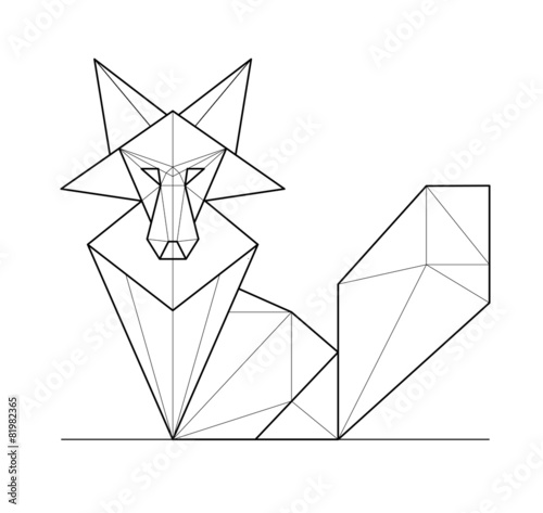 фотография  Fox. Low polygon linear vector illustration