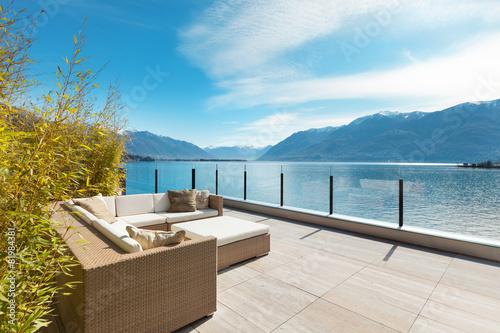 Foto modern architecture, beautiful terrace